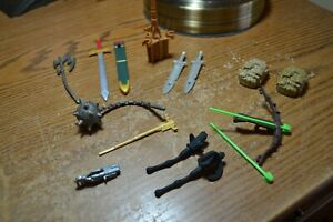 ACTION-FIGURE-ACCESSORIES-LOT-BACKPACKS-SWORDS-CROSSBOW-BALL-amp-CHAIN-WEAPONS