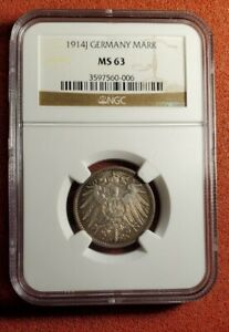 1914-J Germany 1M Mark Silver Coin NGC MS-63. Lot t1081