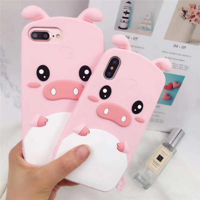 For iPhone 6S 7 8 X 3D Hot Cute Cartoon Pig Soft Silicone Phone Back Case Cover