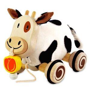 I-039-m-Toy-Spielzeug-Plueschkuh-Kuh-zum-ziehen-Kinder-Laufen-Spielen-Rollen-Glocke