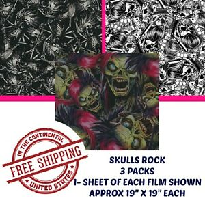 Details about HYDROGRAPHIC WATER TRANSFER HYDRO DIPPING DIP KIT HYDRO FILM  SKULLS ROCK 3 PACK
