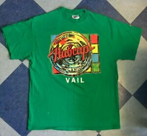 Vtg-Hubcap-Brewery-T-shirt-Size-L-Hanes-Beefy-T-Single-Stitch-Vail-CO