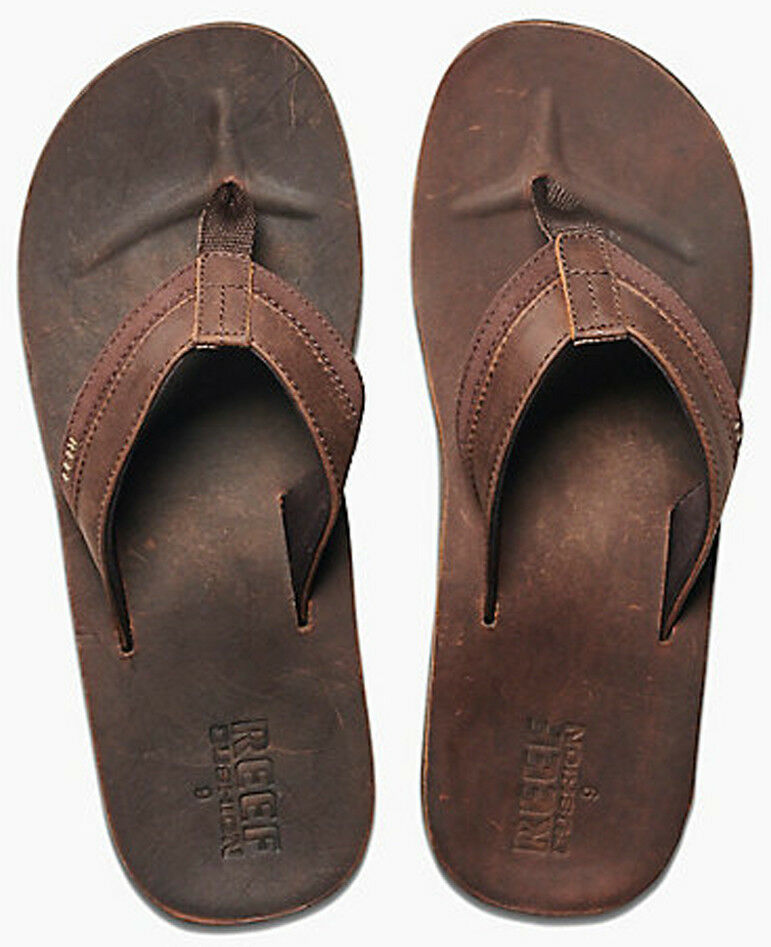 Reef Leather Contour Cushon Leather Sandals in Chocolate