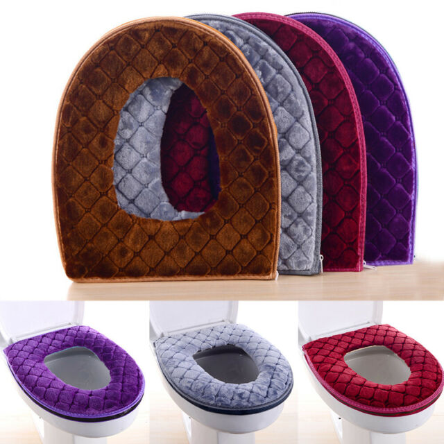 Bathroom Toilet Seat Cushion Closestool Washable Winter Plush Warm Mat Cover Pad