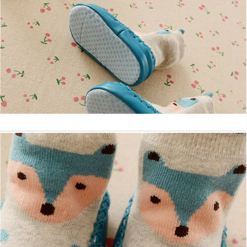 Baby Boys Girls Toddlers Cute Animal Slipper Shoe Socks Non-Skid Winter Warm New