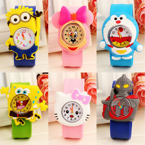 Fashion-Cartoon-Slap-Snap-On-Silicone-Wrist-Watch-Boys-Girls-Children-Kids-Watch