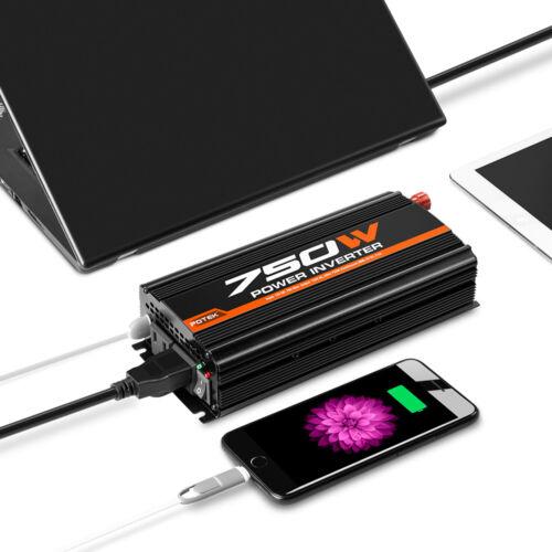 POTEK 750W Car Power Inverter DC 12V to 110V Dual AC Charging Port /& 2A USB Port
