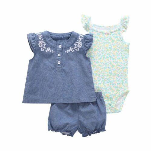 Pant Jumpsuit 3pcs New-born Infant Baby Girl Outfits Clothes Set Romper Tops