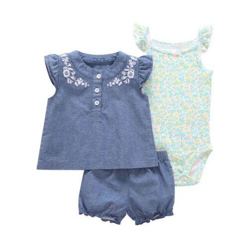 Pant Jumpsuit 3pcs New-born Infant Baby Girl Outfits Clothes Set Romper Tops