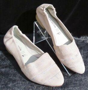 Details zu Tamaris Damen Beige Silber Stecker Wildleder Leder Slipper Ballerinas Schuhe