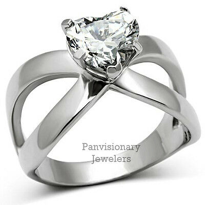 CZ Heart Solitaire Silver Stainless Steel Infinity Engagement Kathy's Ring
