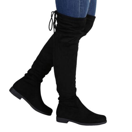 Damen Overknees Leder-Optik High Stiefel Boots Basic Look 891290 Top