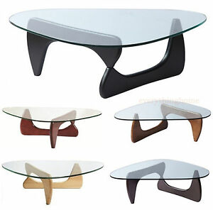 Image Is Loading Noguchi Style Gl Triangle Coffee Table Black Cherry