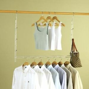 Image Is Loading Double Space Organizer Adjustable Closet Rod Wardrobe Hang