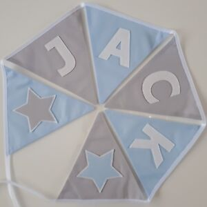 Personalised Navy Blue /& Star Fabric Bunting ~ Baby Boy ~ Nursery Decor