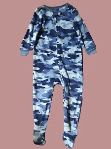 Ex Gap Kids Boys Blue Camouflage All-In-One One Piece Super Soft Lounge Pyjamas