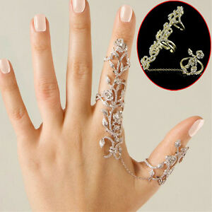 Damen-Doppel-Fingerring-Daumenring-Gliederring-Gelenkring-Kristall-Strass-Ringe