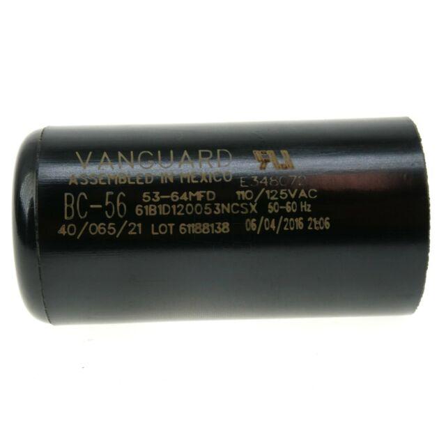 110-125VAC 50//60Hz Vanguard BC-56 Start Capacitor Mfd 53-64 uF