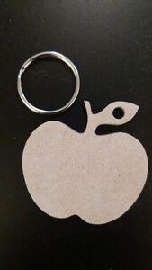 5-x-Mdf-Teachers-Apple-Keyrings-4mm-5cm-Apple-with-split-ring