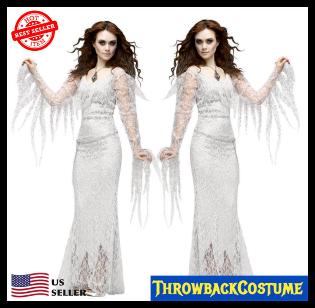 Womens Halloween Costume Corpse Bride White Lace Fancy Dress Up Zombie Ghost US