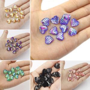 40pcs Lots 12//14mm Resin Crystal AB Heart Flatback Scrapbooking Findings Beads