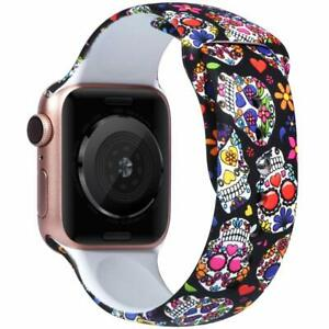 Skull Band for New Apple watch 5,4,3,2,1 Women Men Soft Silicone iWatch 38/40mm