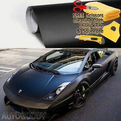 "*60/""x72/"" Matte Flat Black Car Vinyl Wrap Sticker Decal Air Release Bubble Free"