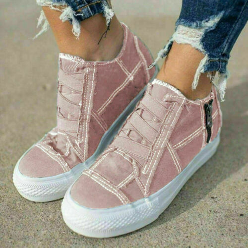 Details about  /Women Slip On Zip Flat Trainers Casual Sport Exercise Hidden Wedge Sneakers Size