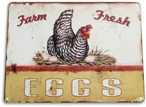 "TIN SIGN ""Eggs Farm Fresh"" Metal Decor Wall Art Store Kitchen Bar A104"
