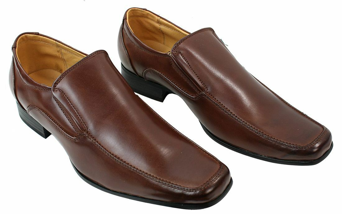Mens Formal Slip On Shoes Smart Formal Mens Brown Leather Lined Square Round Wide Toe cc426b