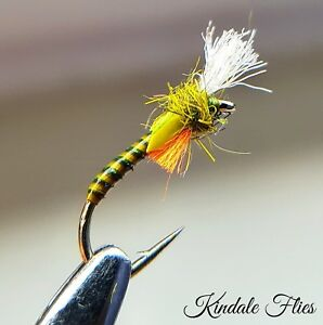 Lightweight Holo// Orange  Buzzers size 12 Fly Fishing Flies Trout Set of 3