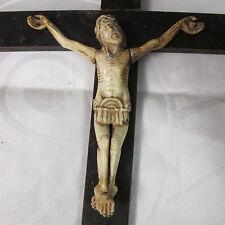 Kruzifix JESUS CHRISTUS Corpus CHRIST CHRISTO 19. Jhdt Bein Schitzerei bone