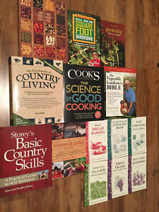 FOURTEEN (14) COUNTRY LIVING GARDEN HOMESTEADING COOKING BOOKS BEST SELLER LOT