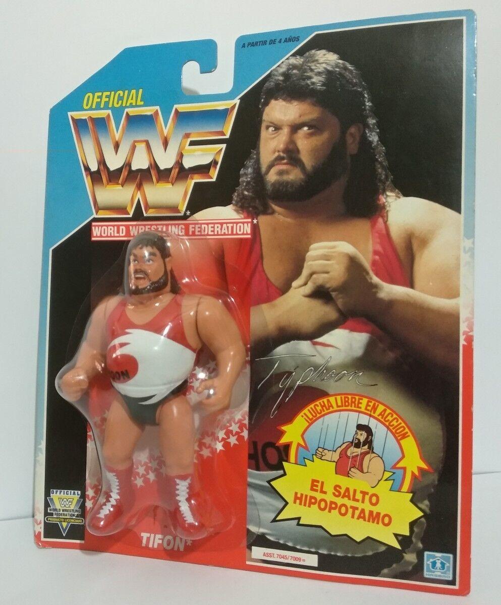 WWF TYPHOON MOC SPANISH CARD HASBRO WWE WCW PRESSING CATCH VINTAGE
