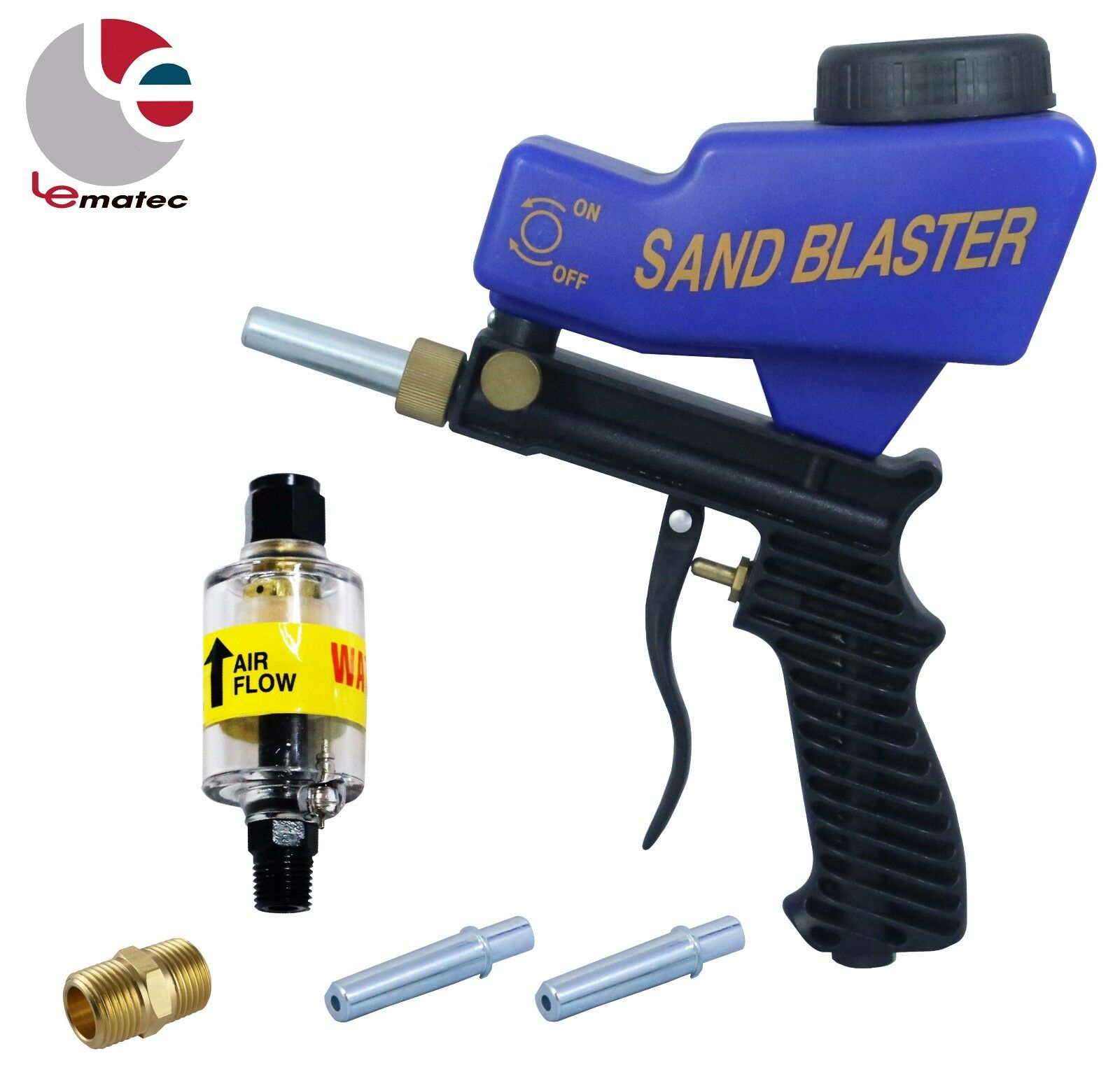 LEMATEC Sandblaster Gun With 1 4  Air Filter Water Brass Fitting Blasting kits