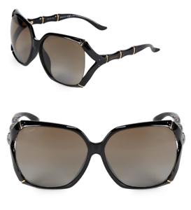 45d8d0e3796 GUCCI Bamboo Square Sunglasses GG 3508 S Black Gold Brown Polarized ...