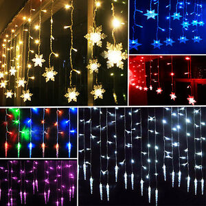 96LED Icicle Hanging Snowflake Curtain String Lights Fairy Christmas Party Lamps eBay