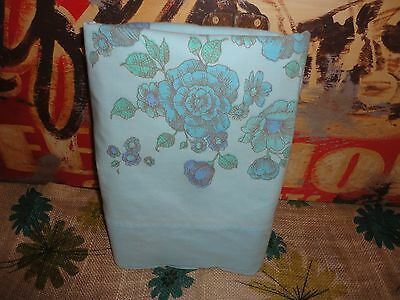 VINTAGE MONTGOMERY BLUE TEAL FLORAL BORDER TWIN/TWIN XL FLAT SHEET 66 X 99