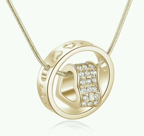 Crystal HEART gold Necklace WEDDING bridesmaid  birthday christmas valintines802