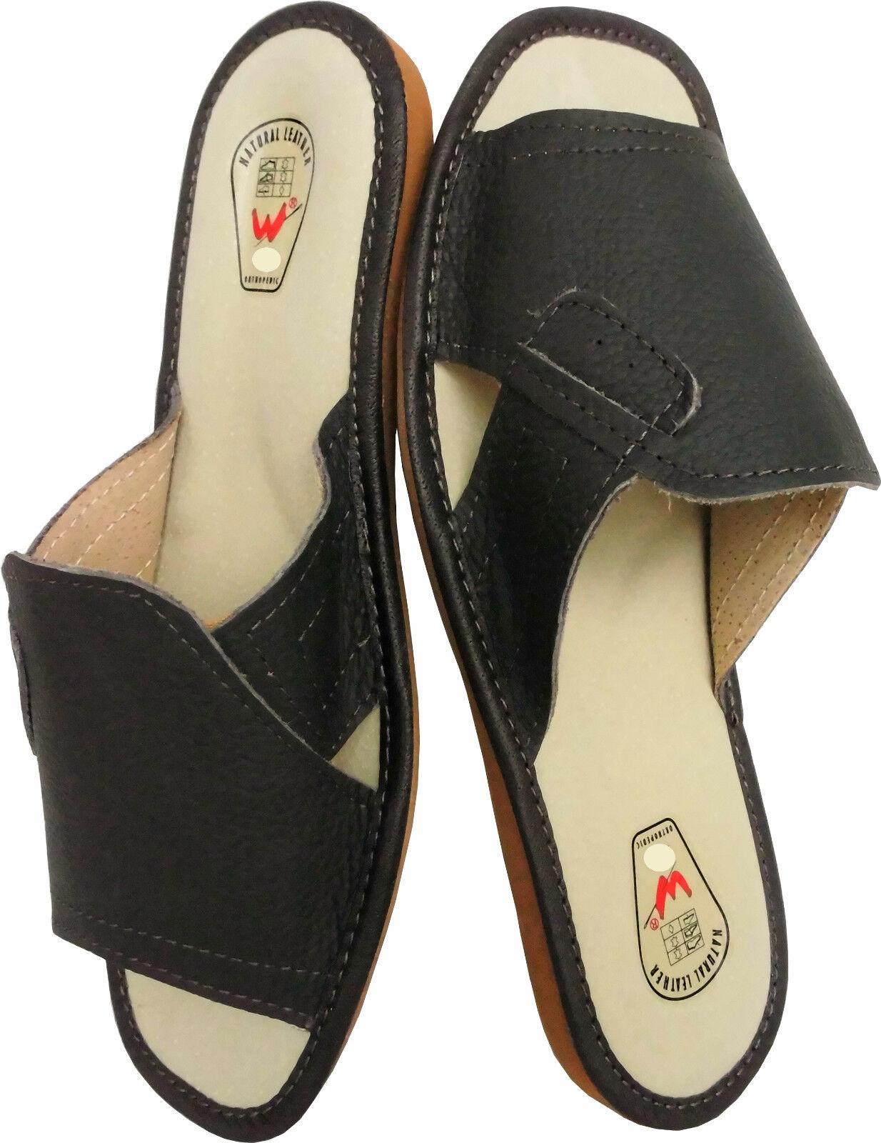 Hausschuhe - Pantolette   Gr.44 *Echt LEDER*   Bequeme (Made in Poland 27-1-3-11) 6caf1e