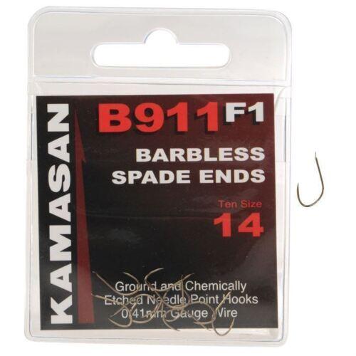 KAMASAN B911F1 BARBLESS SPADE END FISHING HOOK F1 CARP BARBLESS HOOK