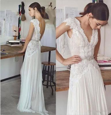 Boho Lace Chiffon Beach Wedding Dress Backless Sexy V Neck Bohemian Bridal Gown Ebay