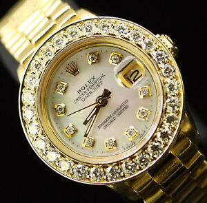 Rolex-Datejust-Presidential-Ladies-Oyster-Perpetual-18K-Gold-Diamond-Dial-Bezel