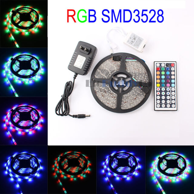 16.4FT RGB Changing Color Flexible Led Strip Lights SMD5050 300led/&44Key Remote