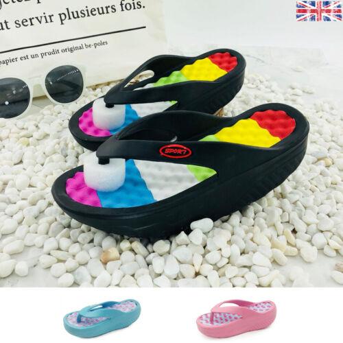 Womens Platform Flip Flops Shoes Slipper Beach Sandals Sea Pool Non Slip On New