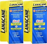 Lanacane Maximum Strength Anti-itch Medication, Cream 1 Oz (2 Pack )