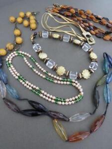 Vintage-Estate-Necklaces-Chokers-Job-Lot-Amber-Color
