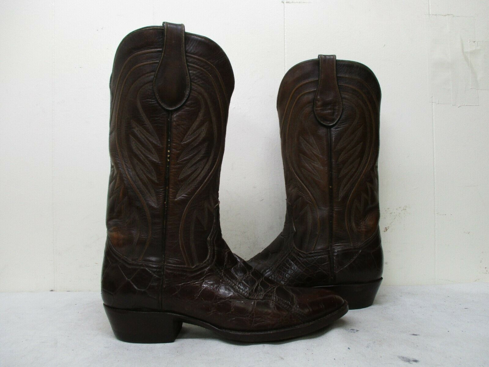 f3a699f69 Crown Brown Exotic Leather Alligator Cowboy Boots Men Size 10.5 B Style  6500 USA