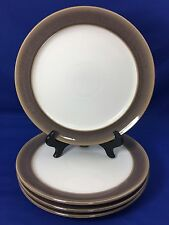 Denby England Truffle Salad Dessert Plates White with Wide Brown Rim Set of 4 & Denby White Trace 9 Inch White Rimmed Gourmet Dessert / Salad/ Pasta ...