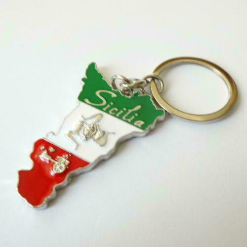SICILY TRINACRIA Key Chains 138 DD Stainless Tone polished and enameled